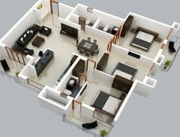 3 bedroom apartment floor plans 3d interior design