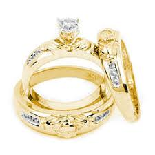 wedding ring trio sets his and hers wedding ring sets
