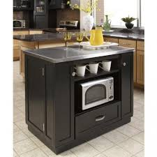 Microwave In Island In Kitchen Imposing Stainless Steel Kitchen Island Cart With Black Cabinet