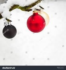 tree balls on snow covered stock photo 728146600