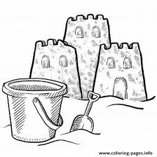 Sand Castle And A Bucket Coloring Pagef7cb Coloring Pages Printable Sandcastle Coloring Page