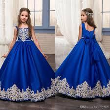 royal blue simple satin floor length flower dresses for