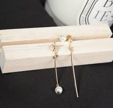 most beautiful earrings ed 0141 2017 korean simple and pearl triangle asymmetric
