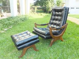 vintage leather chair and ottoman loungs set 695