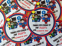 set of 12 personalized superhero boy collection favor tag