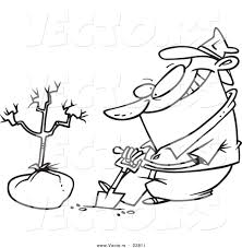 vector of a cartoon guy planting a tree coloring page outline by