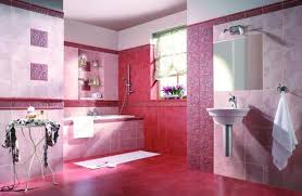 pink floor tiles and frameless mirror for small bathroom
