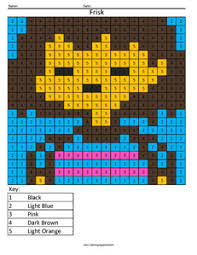 frisk undertale color number coloring squared