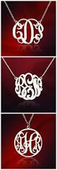 Monogrammed Necklace Sterling Silver Personalized Monogram Necklace Silver Monogram Necklace 1 Inch