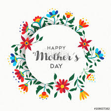 happy mothers day simple floral ornament design stock image and