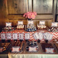 navy blue and coral dessert table www itsasweetthingdesserts com