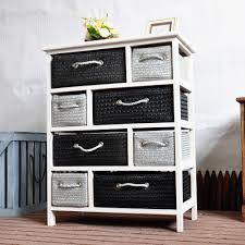 Chest Of Drawers With Wicker Drawers Cupboard Chest Of Drawers White Grey 8 Wicker Baskets Shabby Chic