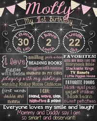 birthday chalkboard pink and gold birthday chalkboard poster girl 1st