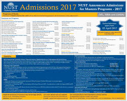 M S University by Admission Open In National University Of Sciences And Technology