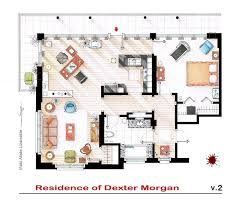 hand drawn floor plans of popular tv shows dexter trendland