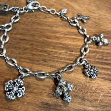 silver bracelet with cross charm images Brighton jewelry sterling silver cross charm bracelet poshmark jpg