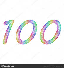 rainbow sketch anniversary design number 100 u2014 stock vector