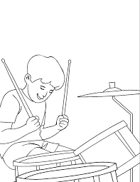 playing music with drum coloring pages for kids ga7 printable