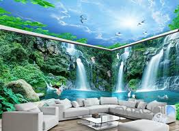wallpaper for entire wall 3d long waterfall mountain blue sky mountain entire room wallpaper