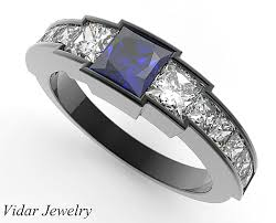 sapphire wedding rings images Black gold blue sapphire wedding ring for a women vidar jewelry png