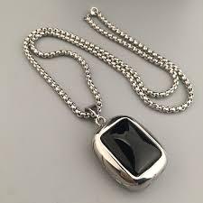 titanium link necklace images New fashion dog tag big crystal stone pendant necklace titanium jpg