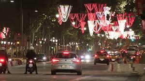 barcelona christmas street lights decorations and traffic time