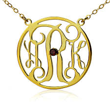 gold plated monogram necklace gold plated circle initial monogram necklace with birthstone