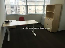 Galant Standing Desk by Ikea Bekant Office Desk Galant File Cabinet And Storage Assembled