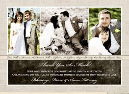 three photo wedding thank you card ivory brown elegance text