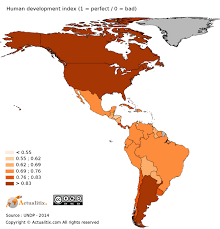 Americas Map by Americas Hdi Human Development Index By Country 2016