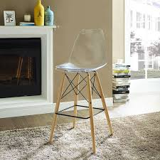 furniture clear acrylic bar stools with back and wooden leg also