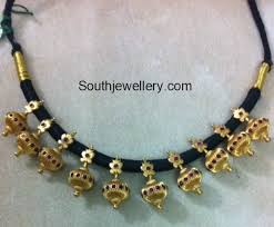 black gold necklace jewelry images Black thread gold necklace designs jewellery designs jpg