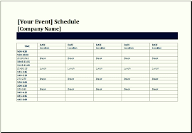 event timetable template format of event schedule template 7