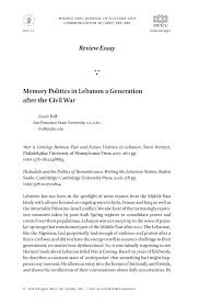 memory politics in lebanon a generation after the civil war