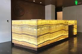 Illuminated Reception Desk Backlit Honey Onyx Reception Desk Gpi Design