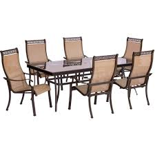 Glass Patio Table And Chairs Hanover 9 Outdoor Dining Set With Rectangular Glass Table
