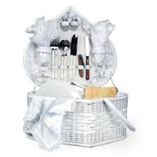picnic basket set for 2 white picnic basket w deluxe service for 2 fete columbus