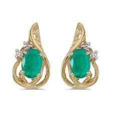 teardrop stud earrings 14k yellow gold oval emerald and diamond teardrop