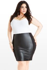 Plus Size Urban Clothes Follow It To The Leather Panel Skirt Fashion To Figure Must Have