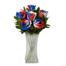 white and blue roses american patriot spectacular bouquet 6 roses white and