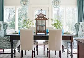 home interior bird cage design ideas blue and white airy dining room with bird cage