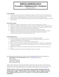 resume for administrative assistant administrative assistant duties for resumes paso evolist co
