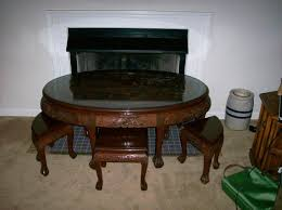 oriental hand carved oval coffee table with 6 stools antique