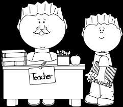 Student Desk Clipart Black And White Male Teacher And Student Clip Art Black And