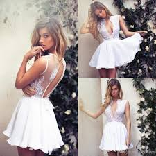 lace deep v neck short full white cocktail dress a line