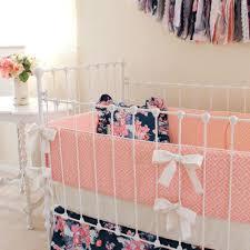 navy floral nursery ideas navy floral coral crib set lottie da