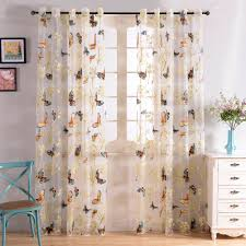 top finel butterfly window sheers curtains panels voile gauze for