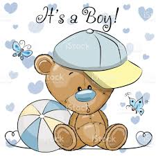 teddy baby shower baby shower greeting card with teddy boy stock vector