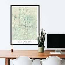 Home Decor Salt Lake City Salt Lake City Gift Map Art Prints And Posters Home Decor Gifts