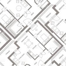 Flats Designs And Floor Plans Vector Furniture Architect Plan Background Flat Design Stock